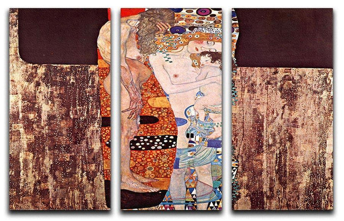 The three ages of a woman by Klimt 3 Split Panel Canvas Print