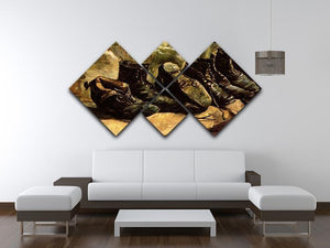 Three Pairs of Shoes by Van Gogh 4 Square Multi Panel Canvas - Canvas Art Rocks - 3