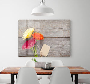 Three colorful gerbera flowers HD Metal Print