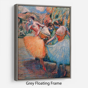 Three dancers 1 by Degas Floating Frame Canvas - Canvas Art Rocks - 3