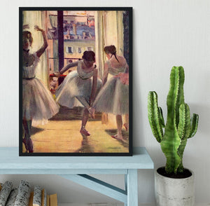 Three dancers in a practice room by Degas Framed Print - Canvas Art Rocks - 2
