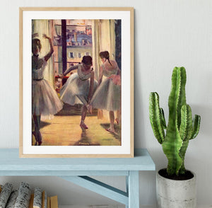 Three dancers in a practice room by Degas Framed Print - Canvas Art Rocks - 3