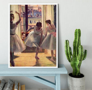 Three dancers in a practice room by Degas Framed Print - Canvas Art Rocks -6