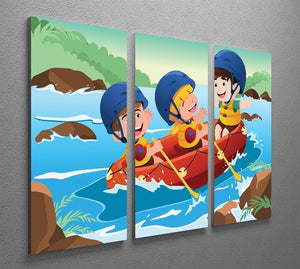 Three happy kids on boat 3 Split Panel Canvas Print - Canvas Art Rocks - 2