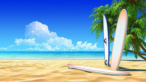 Three surf boards on idyllic tropical sand beach Wall Mural Wallpaper - Canvas Art Rocks - 1