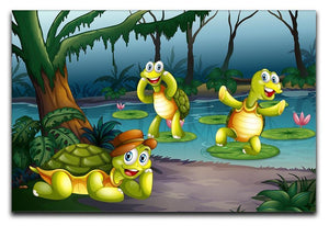 Three turtles living in the pond Canvas Print or Poster  - Canvas Art Rocks - 1