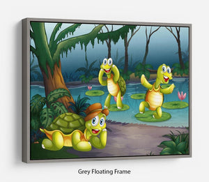 Three turtles living in the pond Floating Frame Canvas