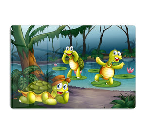 Three turtles living in the pond HD Metal Print