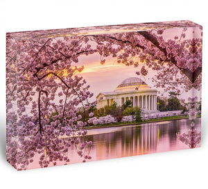 Tidal Basin and Jefferson Memorial cherry blossom season Acrylic Block - Canvas Art Rocks - 1