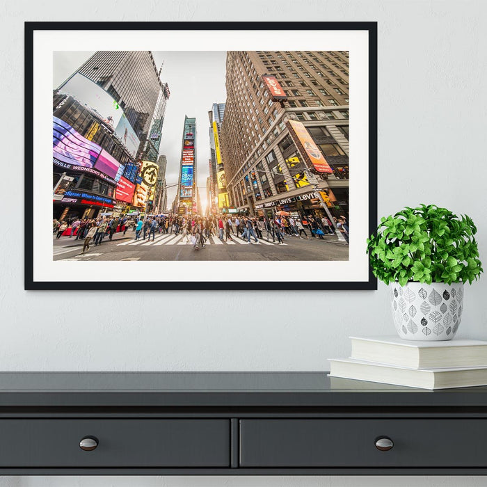 Times Square at sunset Framed Print