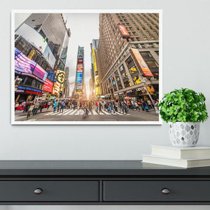 Times Square at sunset Framed Print - Canvas Art Rocks -6