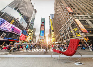 Times Square at sunset Wall Mural Wallpaper - Canvas Art Rocks - 2
