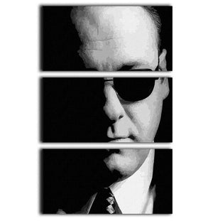 Tony Soprano Black and White 3 Split Panel Canvas Print - Canvas Art Rocks - 1