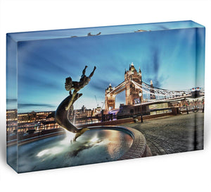 Tower Bridge and St Katharine Docks Girl Acrylic Block - Canvas Art Rocks - 1