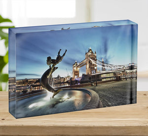 Tower Bridge and St Katharine Docks Girl Acrylic Block - Canvas Art Rocks - 2