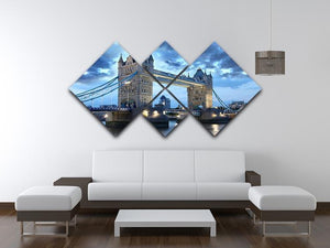 Tower Bridge in the evening 4 Square Multi Panel Canvas  - Canvas Art Rocks - 3