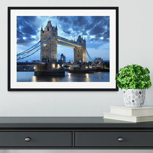 Tower Bridge in the evening Framed Print - Canvas Art Rocks - 1