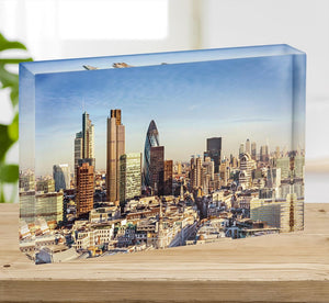 Tower Lloyds of London and Canary Wharf Acrylic Block - Canvas Art Rocks - 2