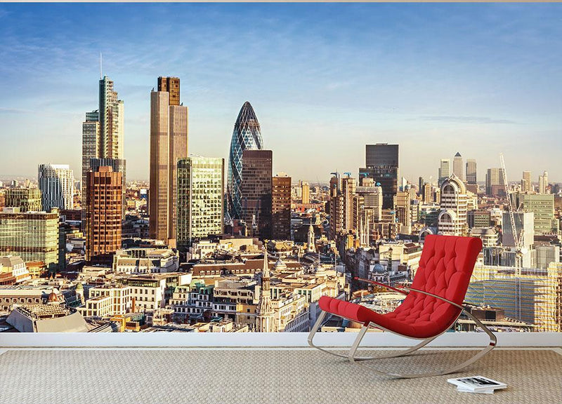 Tower Lloyds of London and Canary Wharf Wall Mural Wallpaper - Canvas Art Rocks - 1
