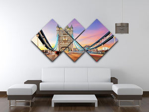 Tower bridge Motion 4 Square Multi Panel Canvas  - Canvas Art Rocks - 3