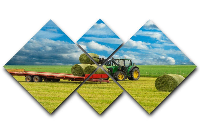 Tractor and trailer with hay bales 4 Square Multi Panel Canvas