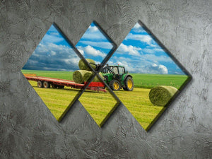 Tractor and trailer with hay bales 4 Square Multi Panel Canvas  - Canvas Art Rocks - 2