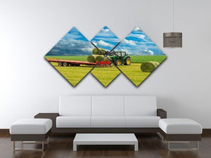 Tractor and trailer with hay bales 4 Square Multi Panel Canvas  - Canvas Art Rocks - 3