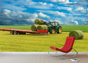 Tractor and trailer with hay bales Wall Mural Wallpaper - Canvas Art Rocks - 2