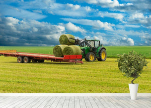 Tractor and trailer with hay bales Wall Mural Wallpaper - Canvas Art Rocks - 4