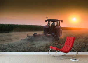 Tractor plowing field at dusk Wall Mural Wallpaper - Canvas Art Rocks - 2