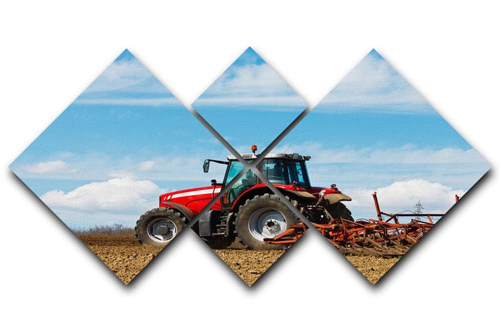 Tractor plowing the field 4 Square Multi Panel Canvas