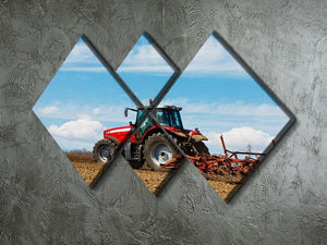 Tractor plowing the field 4 Square Multi Panel Canvas  - Canvas Art Rocks - 2