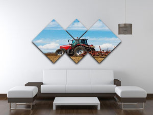 Tractor plowing the field 4 Square Multi Panel Canvas  - Canvas Art Rocks - 3