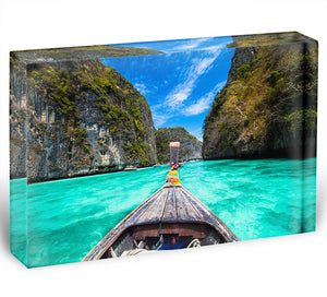 Traditional wooden boat Acrylic Block - Canvas Art Rocks - 1