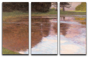 Tranquil Pond near Salzburg by Klimt 3 Split Panel Canvas Print - Canvas Art Rocks - 1