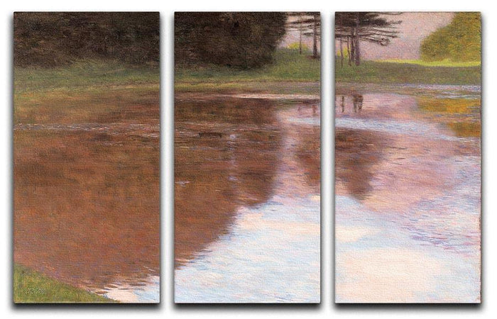 Tranquil Pond near Salzburg by Klimt 3 Split Panel Canvas Print