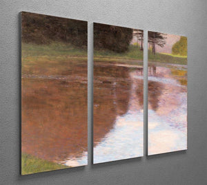 Tranquil Pond near Salzburg by Klimt 3 Split Panel Canvas Print - Canvas Art Rocks - 2