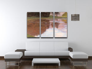 Tranquil Pond near Salzburg by Klimt 3 Split Panel Canvas Print - Canvas Art Rocks - 3