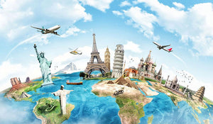 Travel the world Wall Mural Wallpaper - Canvas Art Rocks - 1