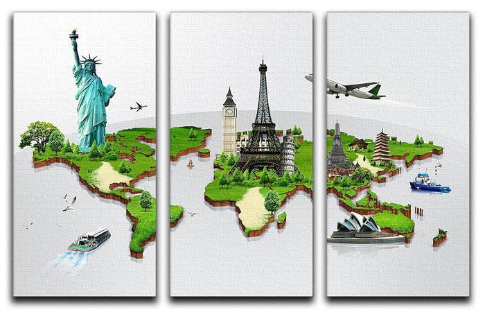 Travel the world concept 3 Split Panel Canvas Print