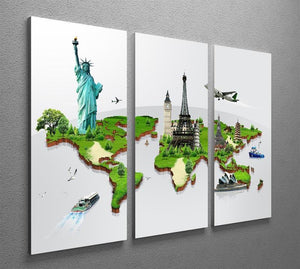 Travel the world concept 3 Split Panel Canvas Print - Canvas Art Rocks - 2