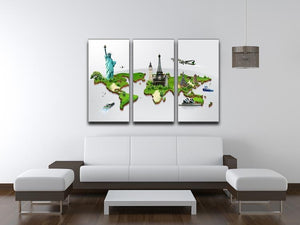 Travel the world concept 3 Split Panel Canvas Print - Canvas Art Rocks - 3