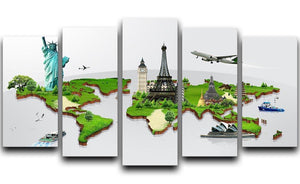 Travel the world concept 5 Split Panel Canvas  - Canvas Art Rocks - 1