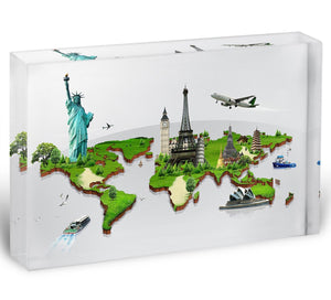 Travel the world concept Acrylic Block - Canvas Art Rocks - 1