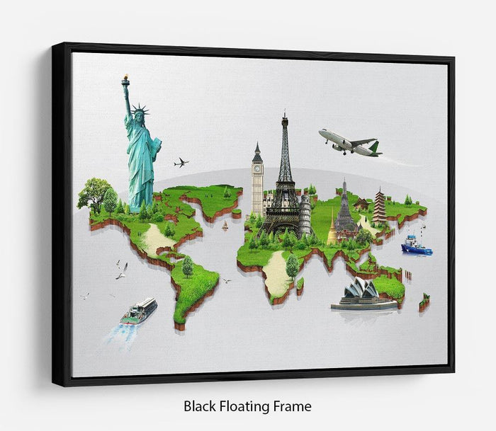 Travel the world concept Floating Frame Canvas