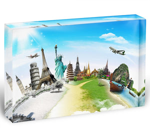 Travel the world monument Acrylic Block - Canvas Art Rocks - 1