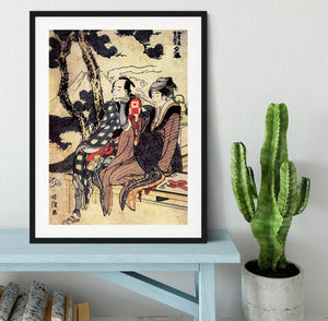 Traveling couple by Hokusai Framed Print - Canvas Art Rocks - 1