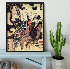 Traveling couple by Hokusai Framed Print - Canvas Art Rocks - 2