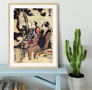 Traveling couple by Hokusai Framed Print - Canvas Art Rocks - 3