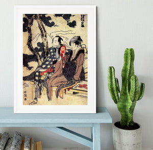 Traveling couple by Hokusai Framed Print - Canvas Art Rocks - 5